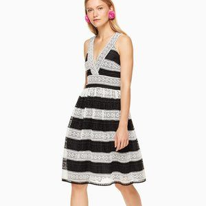 Kate Spade Scenic Route Colorblock Lace Dress Black White Fit & Flare 4 NEW